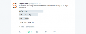 according to a poll done by simply hired last week on twitter recruiters say a candidate should wait up to 5 7 days before following up on a job